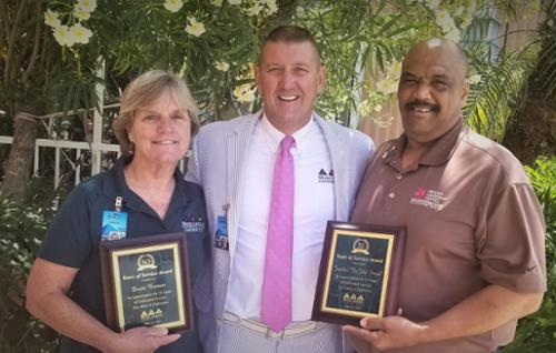 Donita Brannon, Horticulture Exhibit Manager, John Zendt, President & CEO, John Sinegal, Hotel Maintenance Director Donita and John have been with us for 30 years! Thank you both for all you do for us.